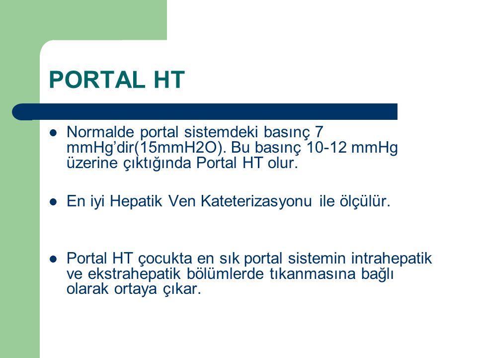 PORTAL HT Normalde portal sistemdeki basınç 7 mmHg'dir(15mmH2O). Bu basınç 10-12 mmHg üzerine çıktığında Portal HT olur. En iyi Hepatik Ven Kateteriza