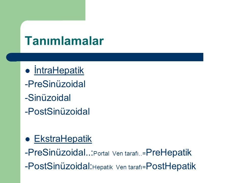 Tanımlamalar İntraHepatik -PreSinüzoidal -Sinüzoidal -PostSinüzoidal EkstraHepatik -PreSinüzoidal..: Portal Ven tarafı..= PreHepatik -PostSinüzoidal: