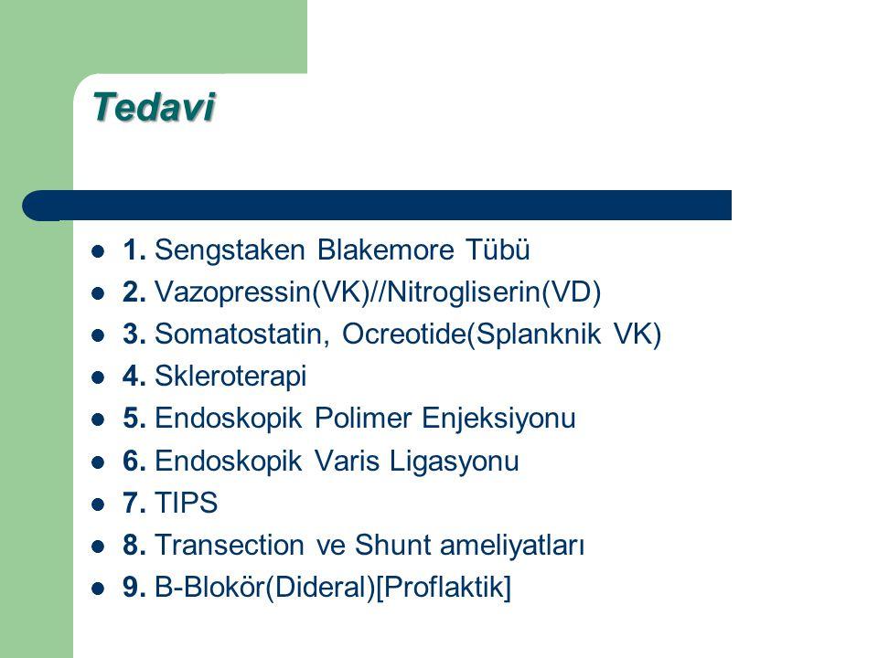 Tedavi 1. Sengstaken Blakemore Tübü 2. Vazopressin(VK)//Nitrogliserin(VD) 3. Somatostatin, Ocreotide(Splanknik VK) 4. Skleroterapi 5. Endoskopik Polim