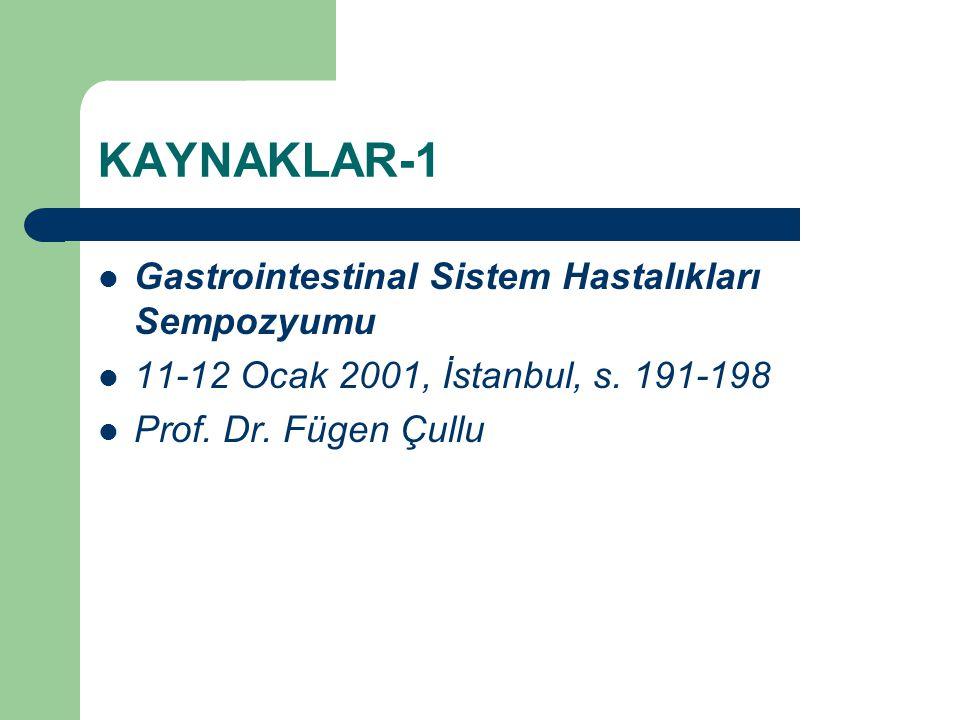 KAYNAKLAR-1 Gastrointestinal Sistem Hastalıkları Sempozyumu 11-12 Ocak 2001, İstanbul, s. 191-198 Prof. Dr. Fügen Çullu