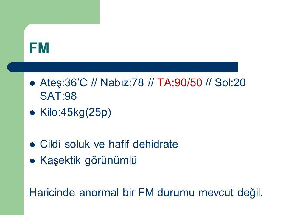 FM Ateş:36'C // Nabız:78 // TA:90/50 // Sol:20 SAT:98 Kilo:45kg(25p) Cildi soluk ve hafif dehidrate Kaşektik görünümlü Haricinde anormal bir FM durumu