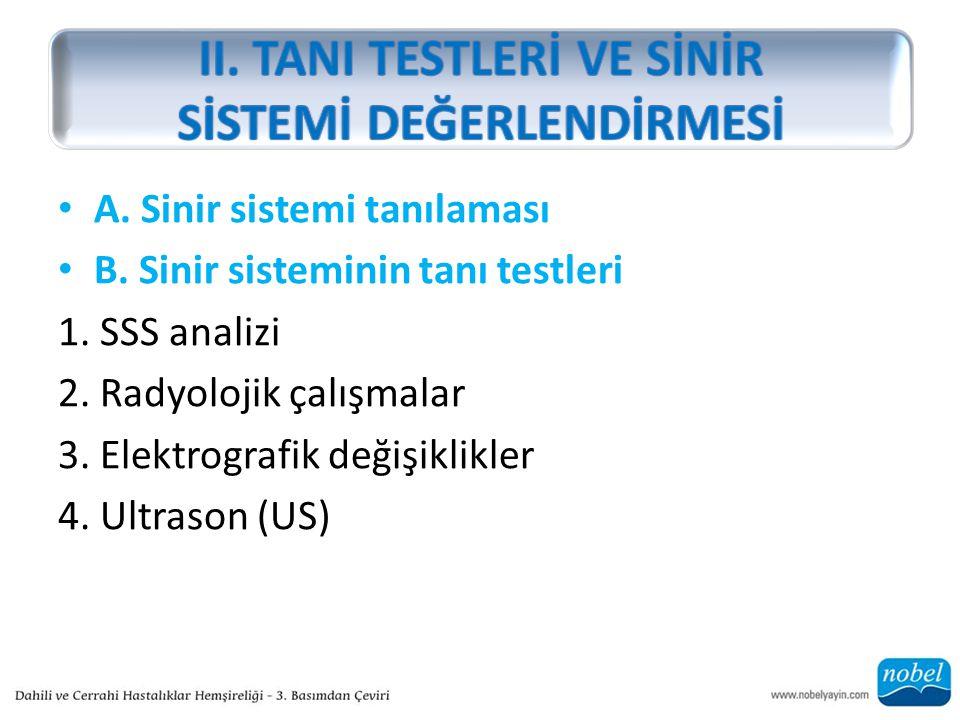 A. Sinir sistemi tanılaması B. Sinir sisteminin tanı testleri 1. SSS analizi 2. Radyolojik çalışmalar 3. Elektrografik değişiklikler 4. Ultrason (US)