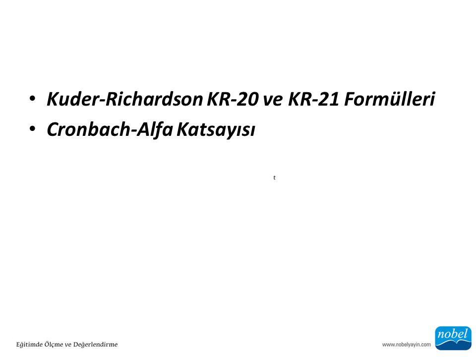 Kuder-Richardson KR-20 ve KR-21 Formülleri Cronbach-Alfa Katsayısı