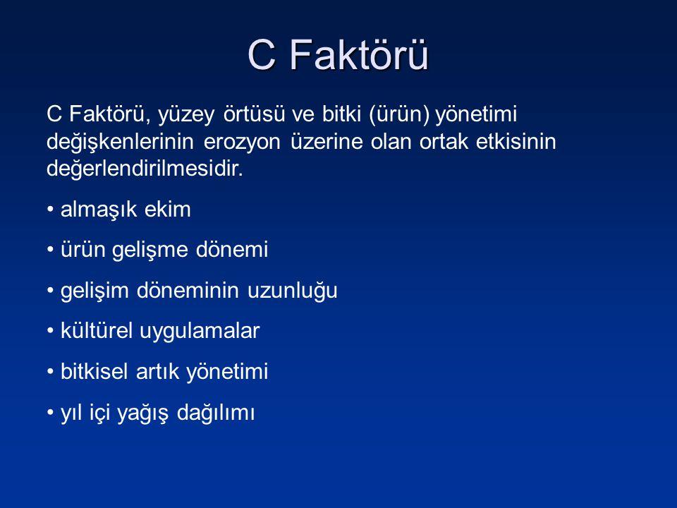 C Faktörü C faktörünün sayısal olarak ifade edilmesi için, ürün gelişim evreleri ve süreleri belirlenmelidir.