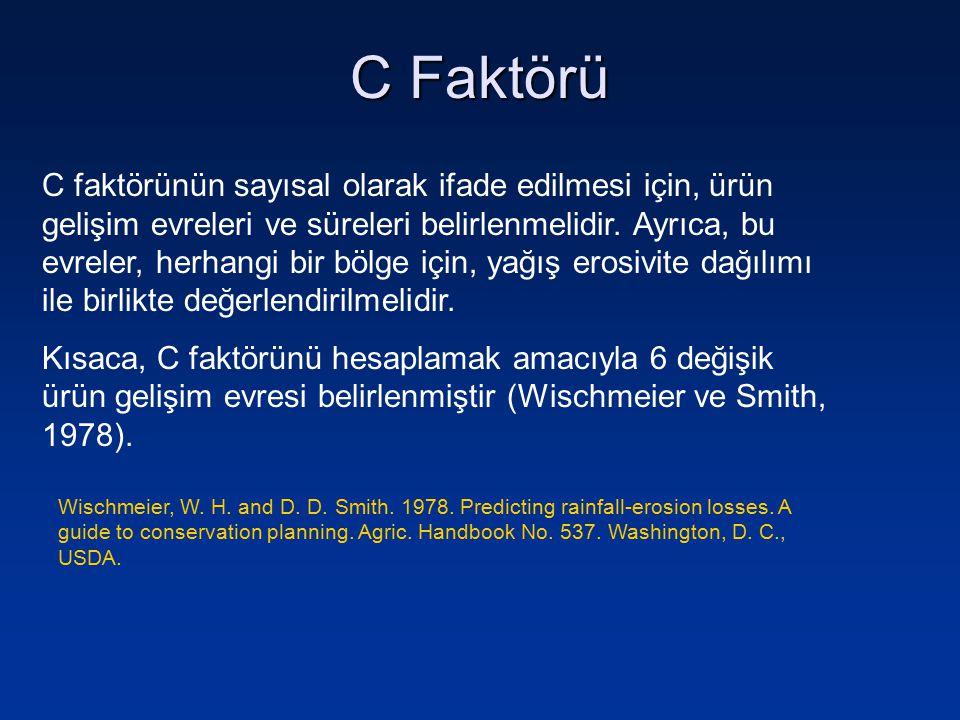 C Faktörü Bitki gelişim evresiToprak yüzeyini örtme %'si C Faktörü Pulluk (toprak işleme)-1,00 Tohum Yatağı100,90 İlk çıkış50 (Pamuk: 30)0,50 (Pamuk: 0,70) Gelişme75 (Pamuk: 60)0,25 (Pamuk: 0,30) Olgunlaşma900,10 Anız20 - 500,50 – 0,80