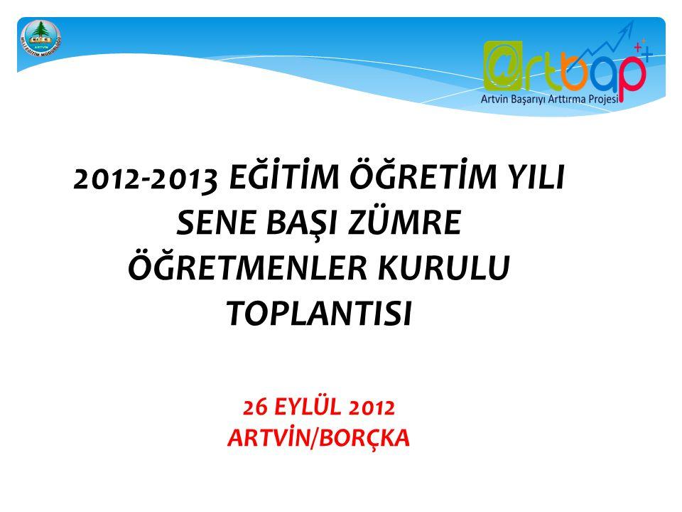 2012-2013 EĞİTİM ÖĞRETİM YILI SENE BAŞI ZÜMRE ÖĞRETMENLER KURULU TOPLANTISI 26 EYLÜL 2012 ARTVİN/BORÇKA