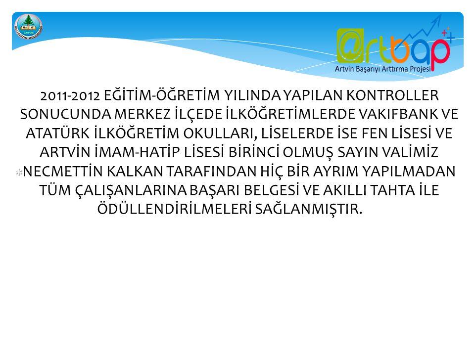    2011-2012 EĞİTİM-ÖĞRETİM YILINDA YAPILAN KONTROLLER SONUCUNDA MERKEZ İLÇEDE İLKÖĞRETİMLERDE VAKIFBANK VE ATATÜRK İLKÖĞRETİM OKULLARI, LİSE
