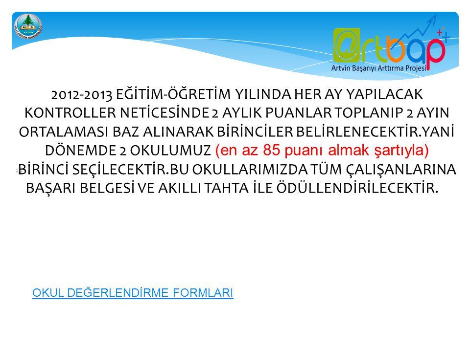    2012-2013 EĞİTİM-ÖĞRETİM YILINDA HER AY YAPILACAK KONTROLLER NETİCESİNDE 2 AYLIK PUANLAR TOPLANIP 2 AYIN ORTALAMASI BAZ ALINARAK BİRİNCİLE