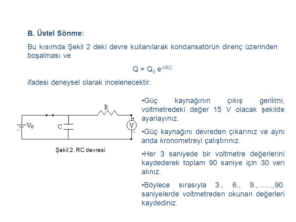 B. Üstel Sönme: Bu kısımda Şekil 2 deki devre kullanılarak kondansatörün direnç üzerinden boşalması ve Q = Q 0 e -t/RC ifadesi deneysel olarak incelen