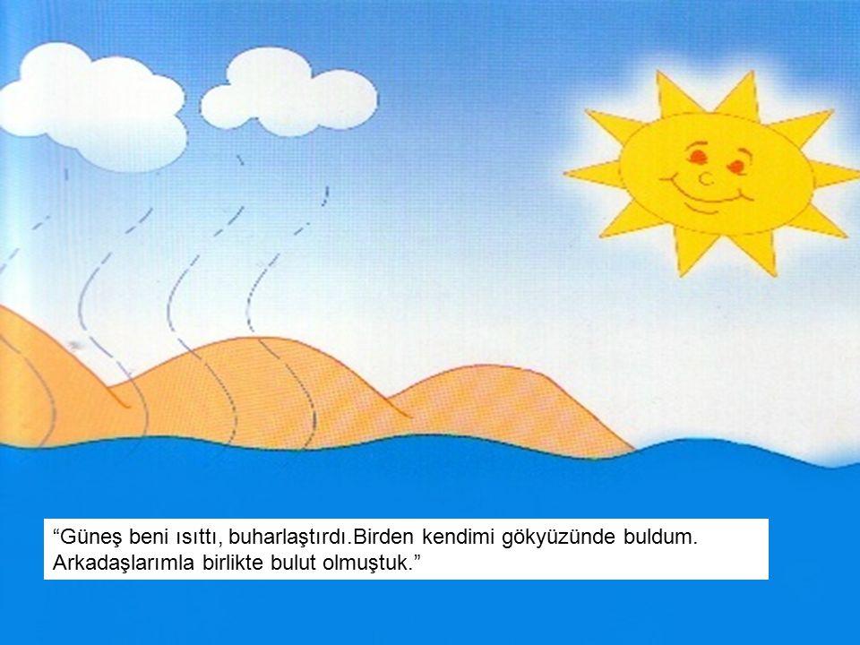 """""""Güneş beni ısıttı, buharlaştırdı.Birden kendimi gökyüzünde buldum. Arkadaşlarımla birlikte bulut olmuştuk."""""""