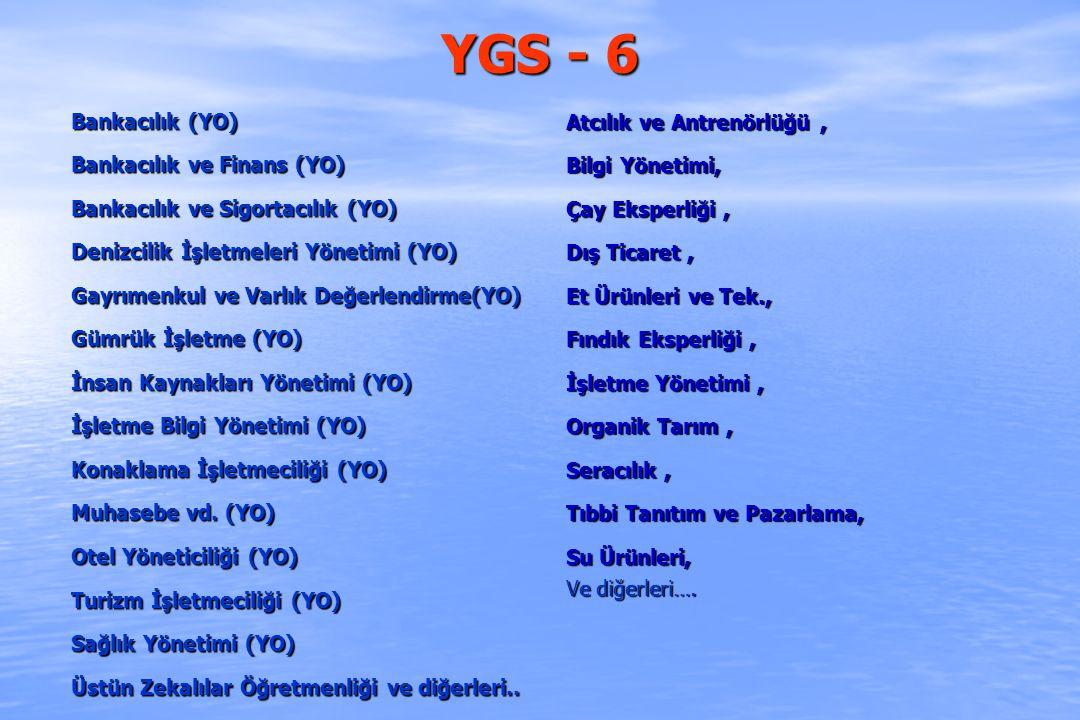 YGS - 6 Bankacılık (YO) Bankacılık ve Finans (YO) Bankacılık ve Sigortacılık (YO) Denizcilik İşletmeleri Yönetimi (YO) Gayrımenkul ve Varlık Değerlend
