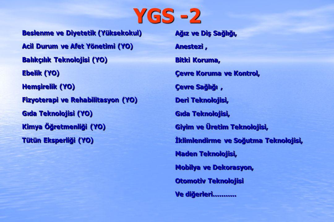 YGS -2 Beslenme ve Diyetetik (Yüksekokul) Acil Durum ve Afet Yönetimi (YO) Balıkçılık Teknolojisi (YO) Ebelik (YO) Hemşirelik (YO) Fizyoterapi ve Reha