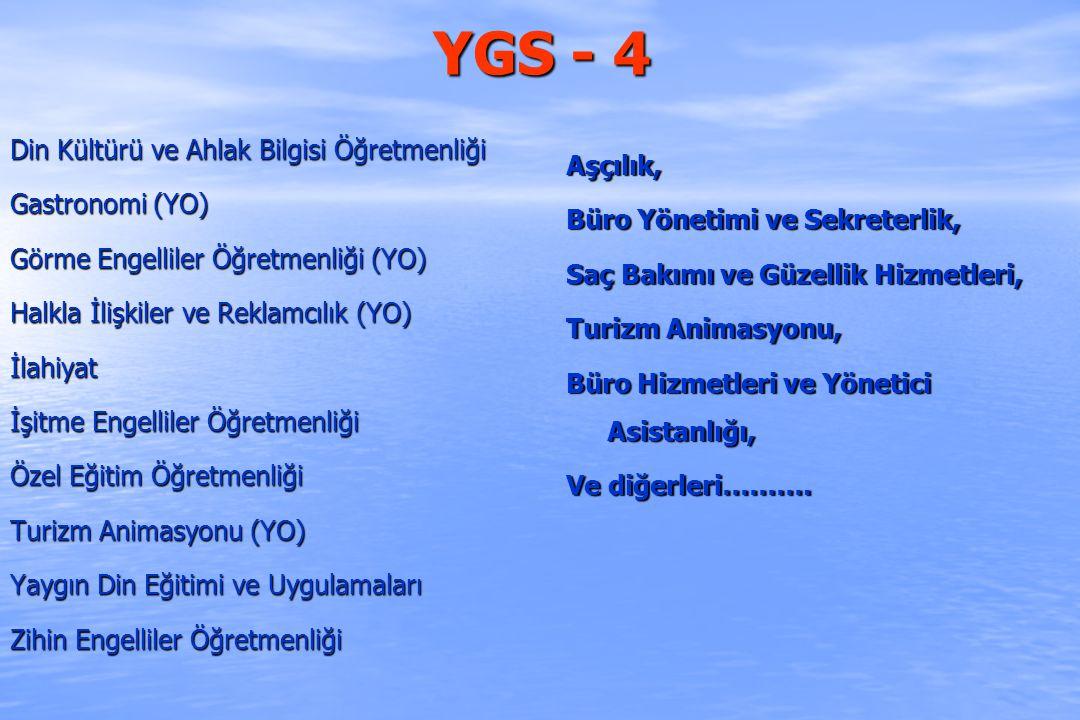 YGS- 5 Avcılık ve Yaban Hayatı, Çevre Temizliği ve Denetimi, Deniz İşletmeciliği ve Yön., Deniz ve Liman İşletmeciliği, Deniz ve Liman İşletmeciliği, Grafik Tasarım, Hava Lojistiği, Kooperatifçilik, Kuyumculuk ve Takı Tasarımı, Moda Tasarımı, Mimari Restorasyon, Çocuk Gelişimi Ve diğerleri…… Çocuk Gelişimi (YO) Moda Tasarımı (YO) Okul Öncesi Öğretmenliği (YO) Seyahat İşl.