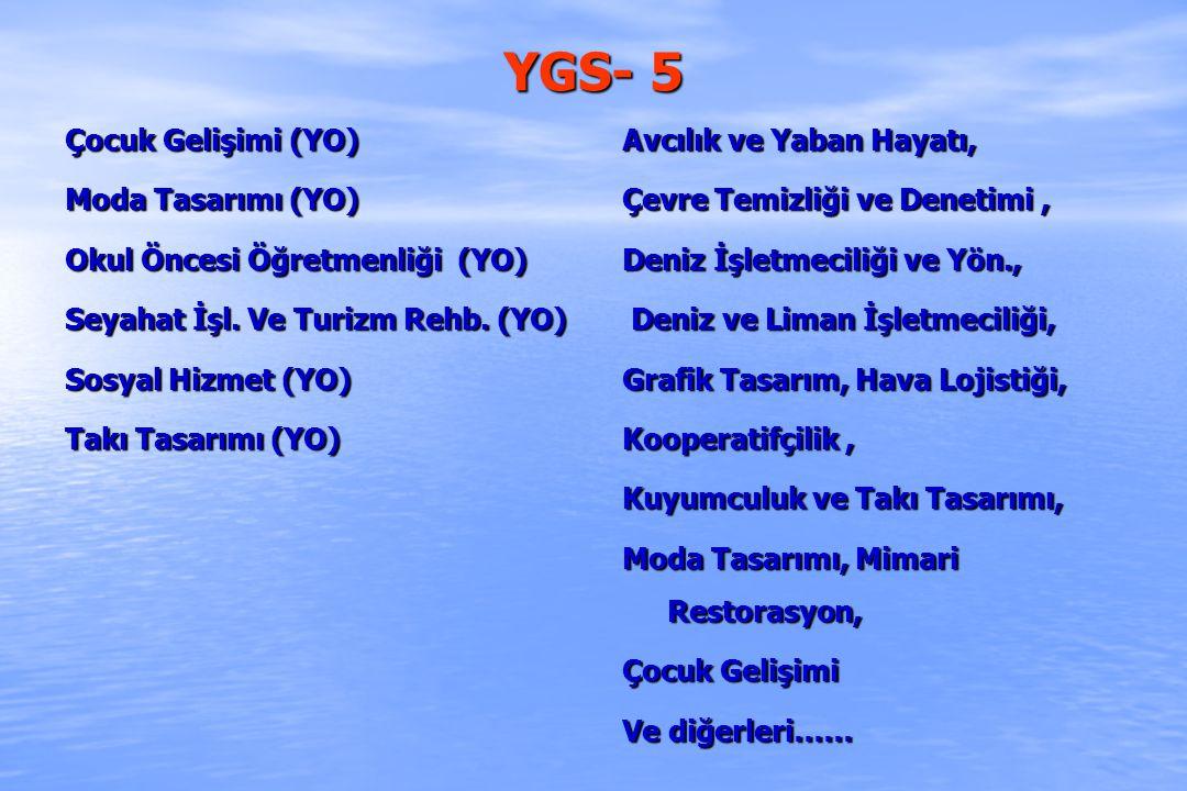 YGS - 6 Bankacılık (YO) Bankacılık ve Finans (YO) Bankacılık ve Sigortacılık (YO) Denizcilik İşletmeleri Yönetimi (YO) Gayrımenkul ve Varlık Değerlendirme(YO) Gümrük İşletme (YO) İnsan Kaynakları Yönetimi (YO) İşletme Bilgi Yönetimi (YO) Konaklama İşletmeciliği (YO) Muhasebe vd.