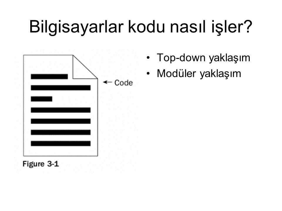 Top down yaklaşım In this scenario, when the code is run the computer starts reading at the top and continues down, going through each line of code until it reaches the end.