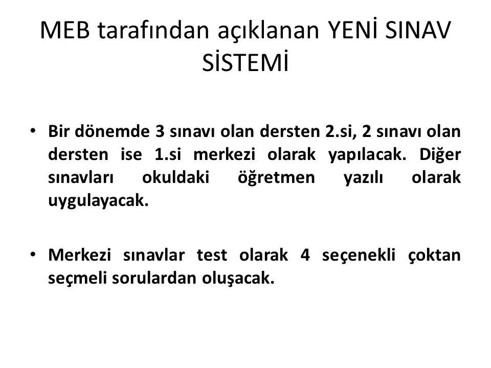 MEB tarafından açıklanan YENİ SINAV SİSTEMİ Bir dönemde 3 sınavı olan dersten 2.si, 2 sınavı olan dersten ise 1.si merkezi olarak yapılacak.