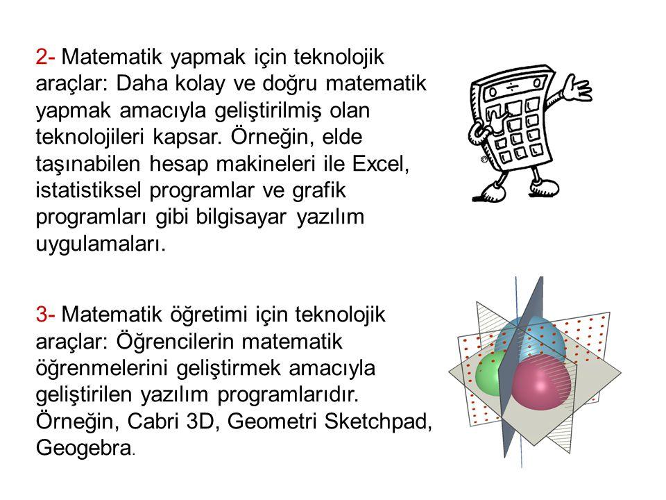 2- Matematik yapmak için teknolojik araçlar: Daha kolay ve doğru matematik yapmak amacıyla geliştirilmiş olan teknolojileri kapsar.