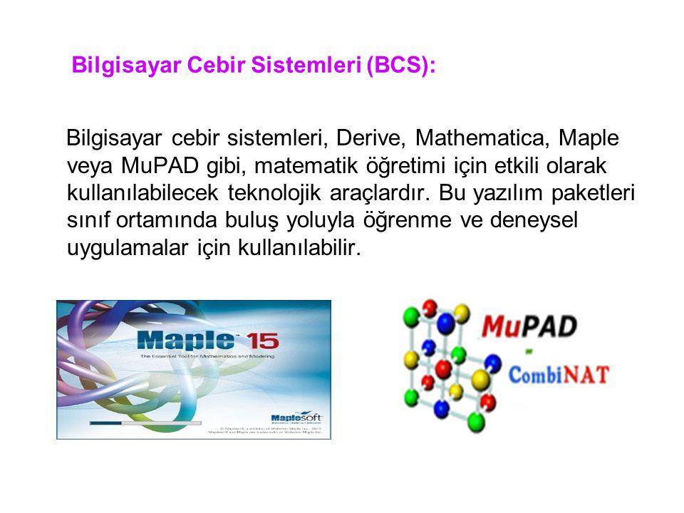 Bilgisayar Cebir Sistemleri (BCS): Bilgisayar cebir sistemleri, Derive, Mathematica, Maple veya MuPAD gibi, matematik öğretimi için etkili olarak kull