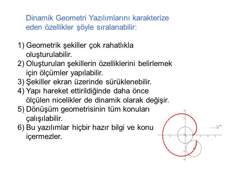 Dinamik Geometri Yazılımlarını karakterize eden özellikler şöyle sıralanabilir: 1)Geometrik şekiller çok rahatlıkla oluşturulabilir.