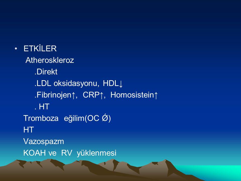 ETKİLER Atheroskleroz.Direkt.LDL oksidasyonu, HDL↓.Fibrinojen↑, CRP↑, Homosistein↑. HT Tromboza eğilim(OC Ǿ) HT Vazospazm KOAH ve RV yüklenmesi