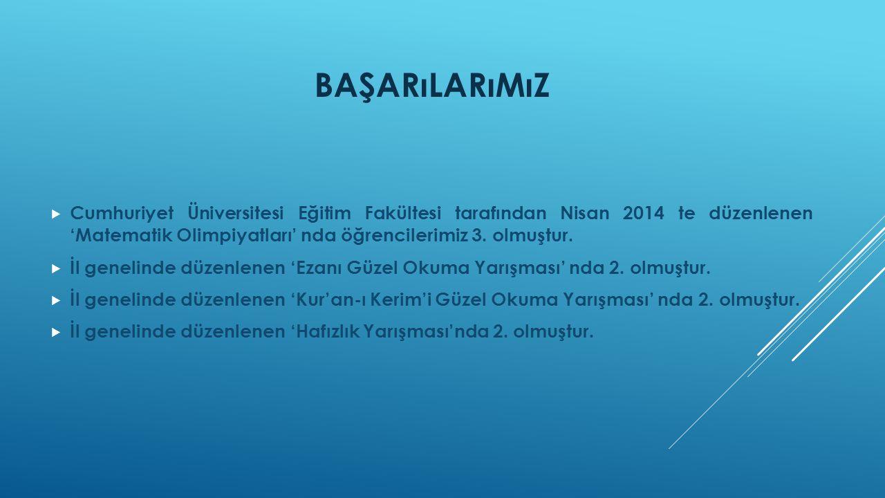 BAŞARıLARıMıZ  Cumhuriyet Üniversitesi Eğitim Fakültesi tarafından Nisan 2014 te düzenlenen 'Matematik Olimpiyatları' nda öğrencilerimiz 3.