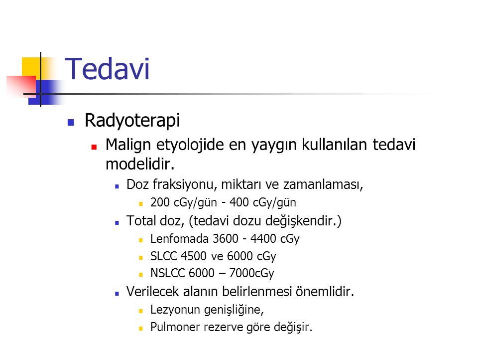 Tedavi Radyoterapi Malign etyolojide en yaygın kullanılan tedavi modelidir. Doz fraksiyonu, miktarı ve zamanlaması, 200 cGy/gün - 400 cGy/gün Total do