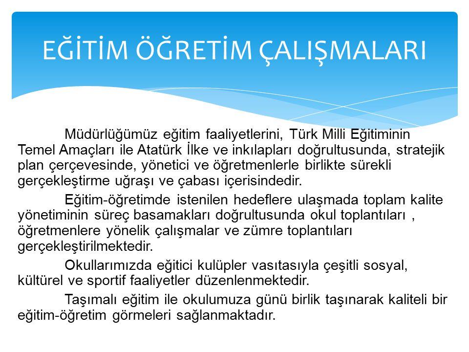 Müdürlüğümüz eğitim faaliyetlerini, Türk Milli Eğitiminin Temel Amaçları ile Atatürk İlke ve inkılapları doğrultusunda, stratejik plan çerçevesinde, y