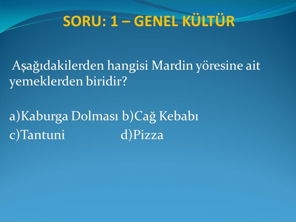 SORU: 1 – GENEL KÜLTÜR Aşağıdakilerden hangisi Mardin yöresine ait yemeklerden biridir? a)Kaburga Dolması b)Cağ Kebabı c)Tantuni d)Pizza