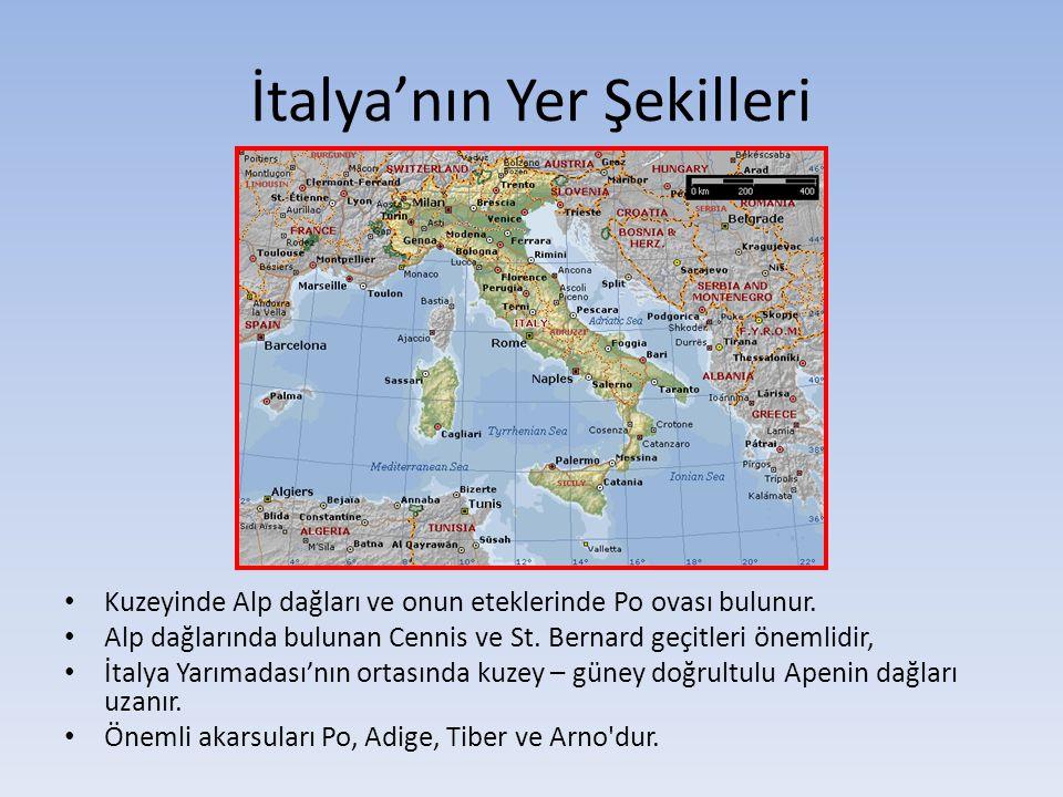 İtalya'nın Yer Şekilleri Kuzeyinde Alp dağları ve onun eteklerinde Po ovası bulunur. Alp dağlarında bulunan Cennis ve St. Bernard geçitleri önemlidir,