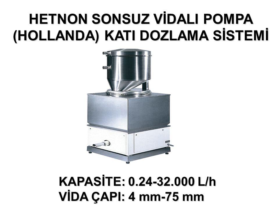 HETNON SONSUZ VİDALI POMPA (HOLLANDA) KATI DOZLAMA SİSTEMİ KAPASİTE: 0.24-32.000 L/h VİDA ÇAPI: 4 mm-75 mm