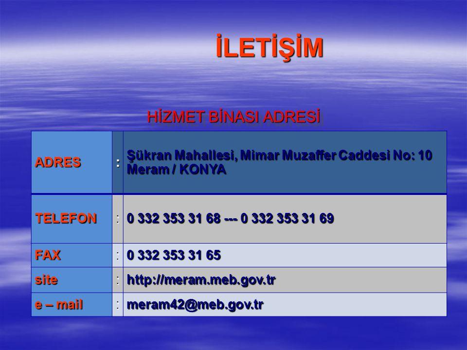 TARİHİMİZ Meram İlçe Milli Eğitim Müdürlüğü 1988 yılında kurulmuştur.