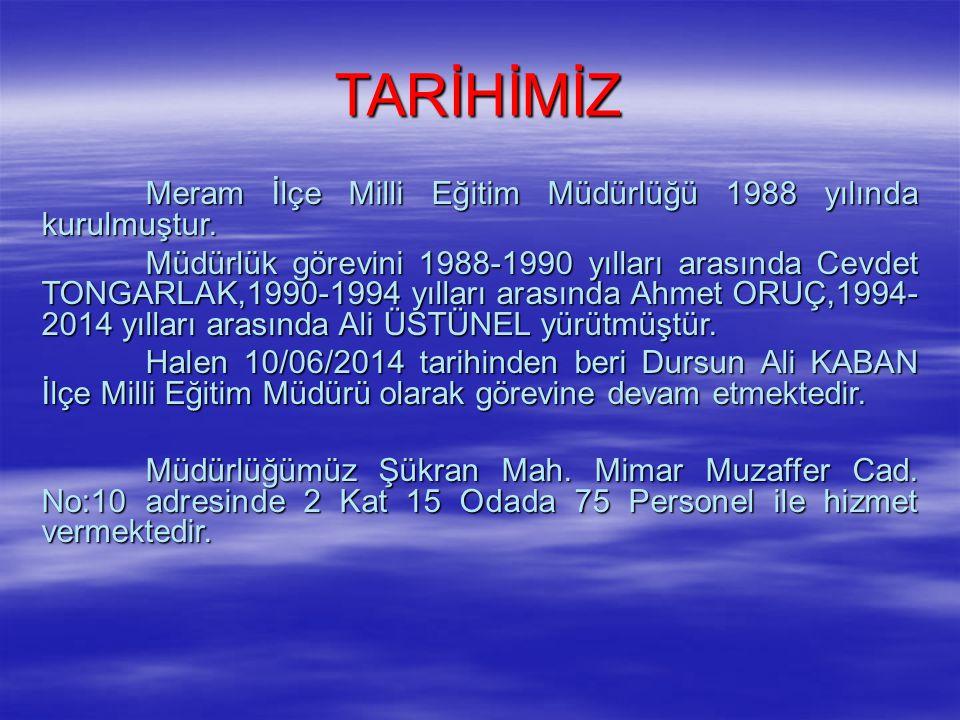 TARİHİMİZ Meram İlçe Milli Eğitim Müdürlüğü 1988 yılında kurulmuştur. Müdürlük görevini 1988-1990 yılları arasında Cevdet TONGARLAK,1990-1994 yılları