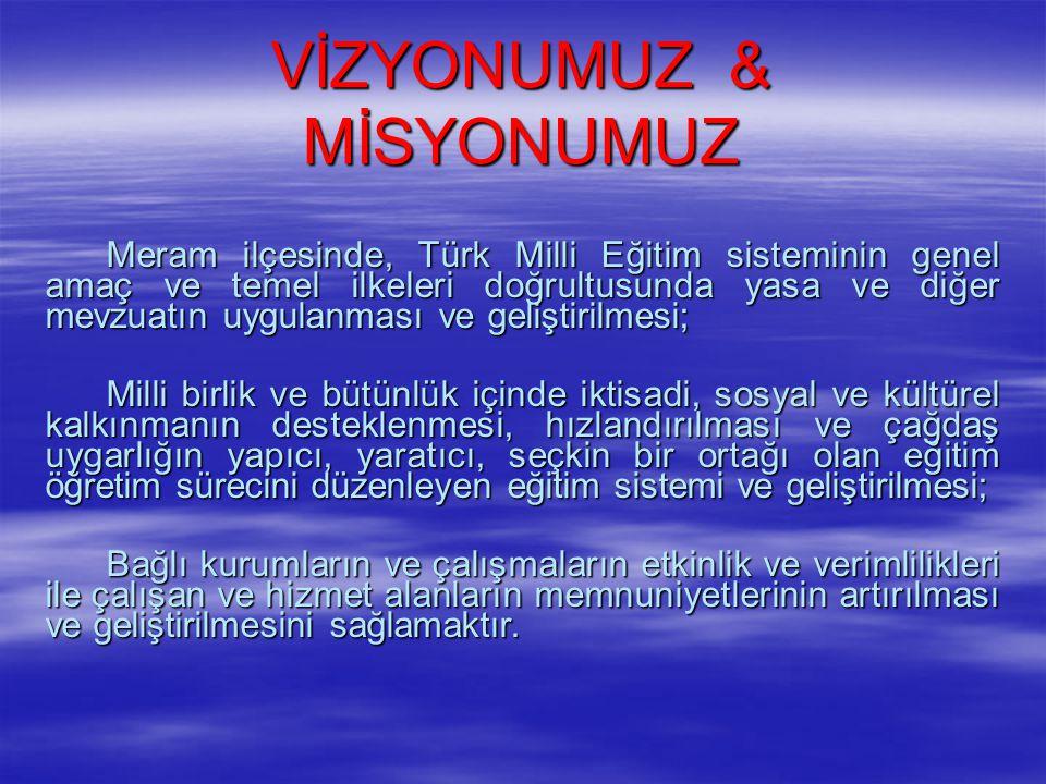 VİZYONUMUZ & MİSYONUMUZ Meram ilçesinde, Türk Milli Eğitim sisteminin genel amaç ve temel ilkeleri doğrultusunda yasa ve diğer mevzuatın uygulanması v