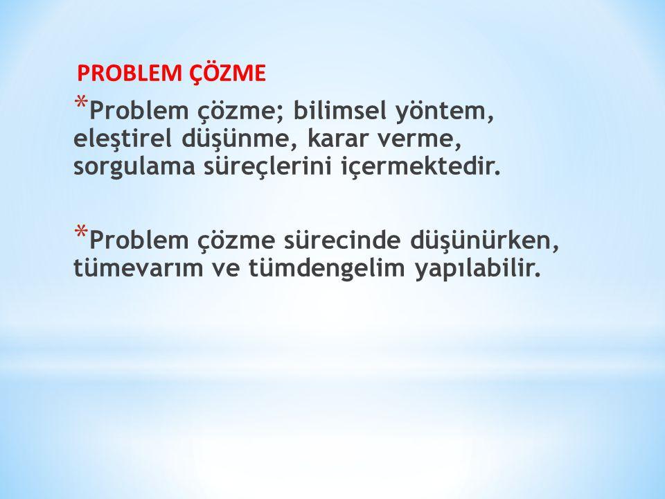 PROBLEM ÇÖZME * Problem çözme; bilimsel yöntem, eleştirel düşünme, karar verme, sorgulama süreçlerini içermektedir.