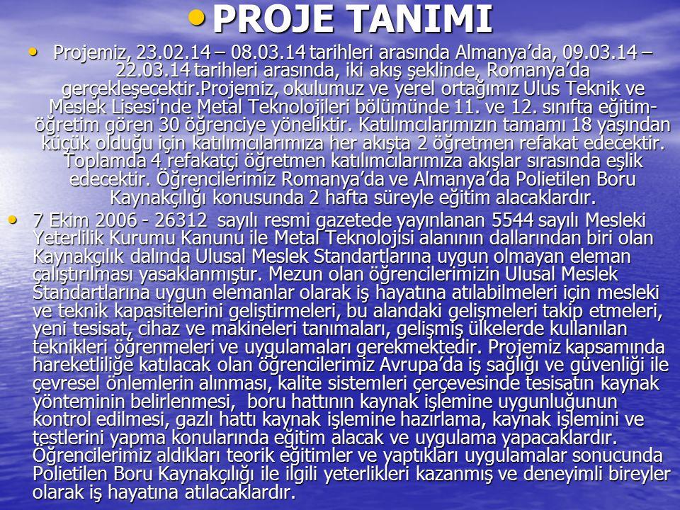 PROJE TANIMI PROJE TANIMI Projemiz, 23.02.14 – 08.03.14 tarihleri arasında Almanya'da, 09.03.14 – 22.03.14 tarihleri arasında, iki akış şeklinde, Roma
