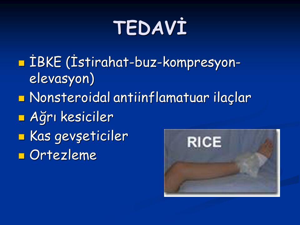 TEDAVİ İBKE (İstirahat-buz-kompresyon- elevasyon) İBKE (İstirahat-buz-kompresyon- elevasyon) Nonsteroidal antiinflamatuar ilaçlar Nonsteroidal antiinflamatuar ilaçlar Ağrı kesiciler Ağrı kesiciler Kas gevşeticiler Kas gevşeticiler Ortezleme Ortezleme