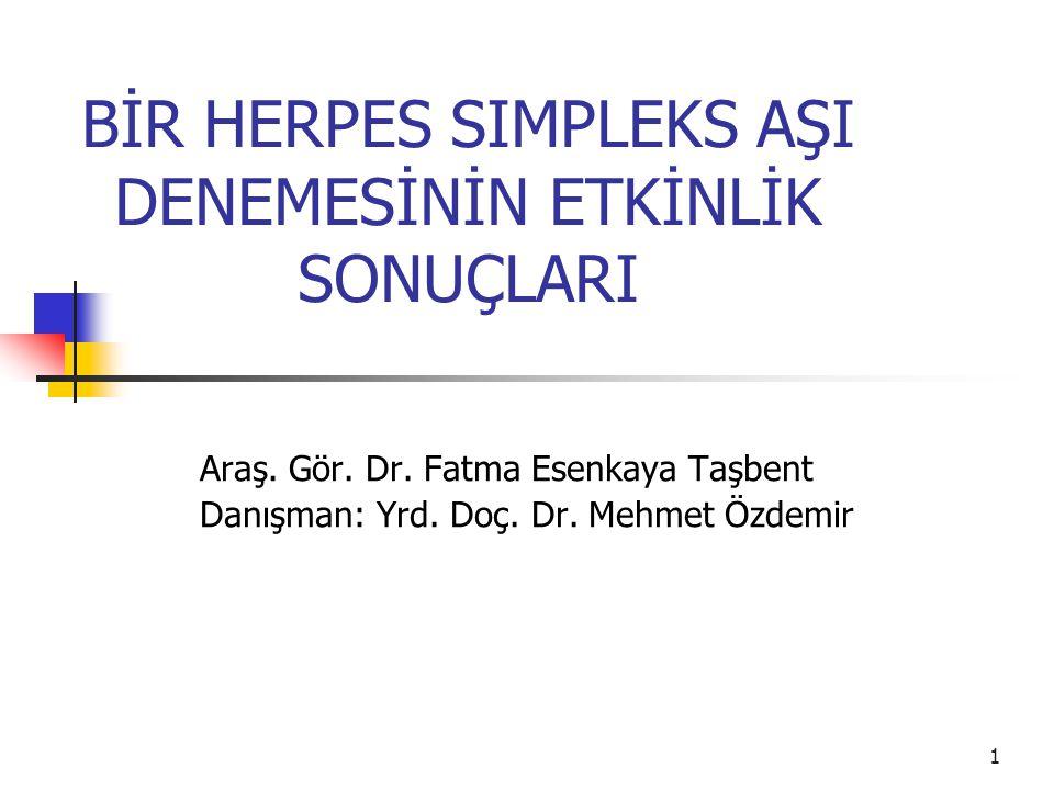 1 BİR HERPES SIMPLEKS AŞI DENEMESİNİN ETKİNLİK SONUÇLARI Araş. Gör. Dr. Fatma Esenkaya Taşbent Danışman: Yrd. Doç. Dr. Mehmet Özdemir