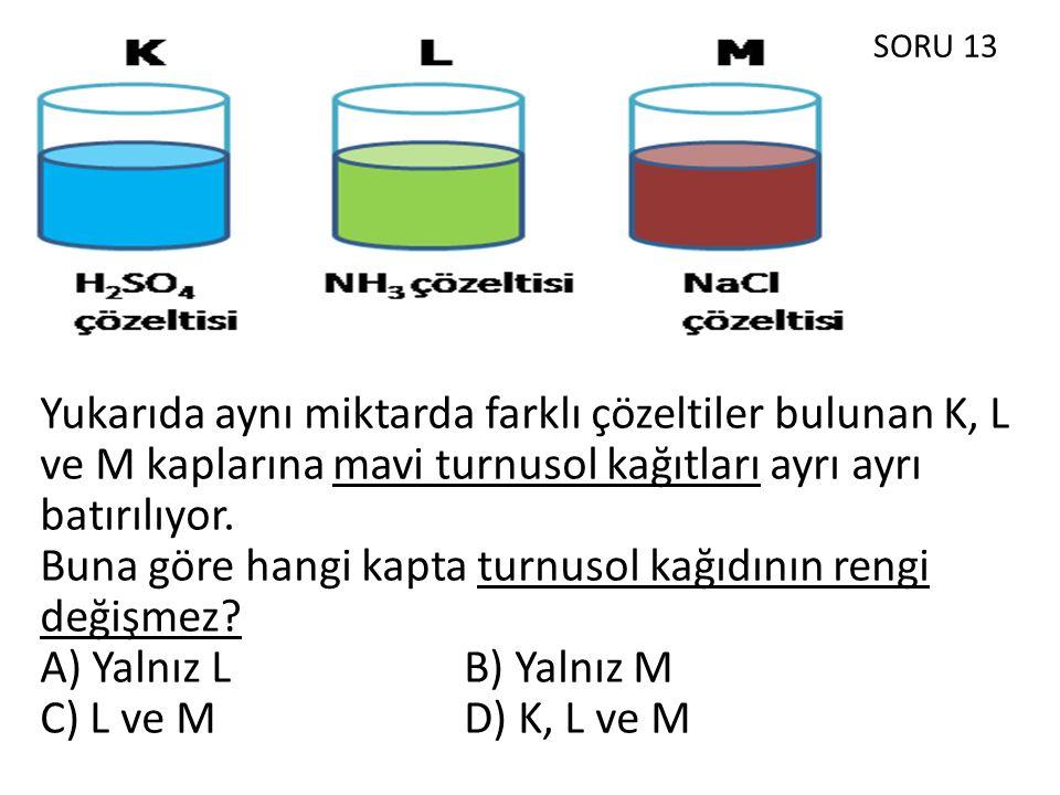 SORU 13 Yukarıda aynı miktarda farklı çözeltiler bulunan K, L ve M kaplarına mavi turnusol kağıtları ayrı ayrı batırılıyor.