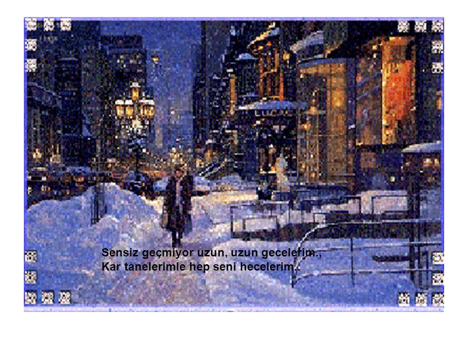Sensiz geçmiyor uzun, uzun gecelerim., Kar tanelerimle hep seni hecelerim..