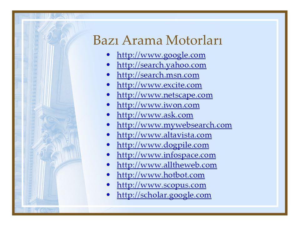 Bazı Arama Motorları http://www.google.com http://search.yahoo.com http://search.msn.com http://www.excite.com http://www.netscape.com http://www.iwon.com http://www.ask.com http://www.mywebsearch.com http://www.altavista.com http://www.dogpile.com http://www.infospace.com http://www.alltheweb.com http://www.hotbot.com http://www.scopus.com http://scholar.google.com