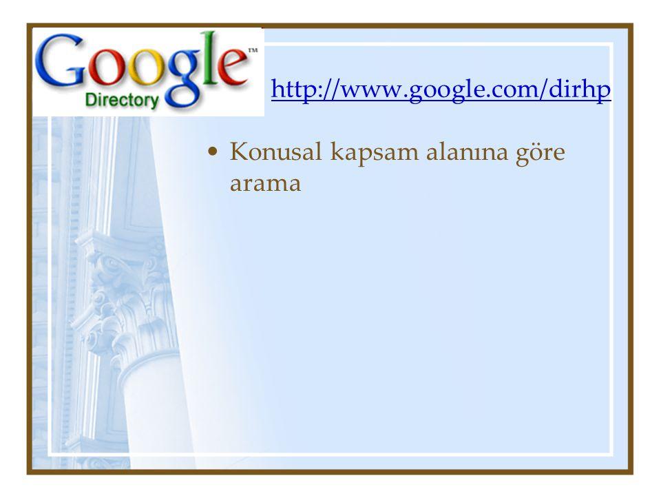 http://www.google.com/dirhp Konusal kapsam alanına göre arama