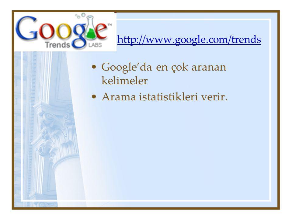 http://www.google.com/trends Google'da en çok aranan kelimeler Arama istatistikleri verir.