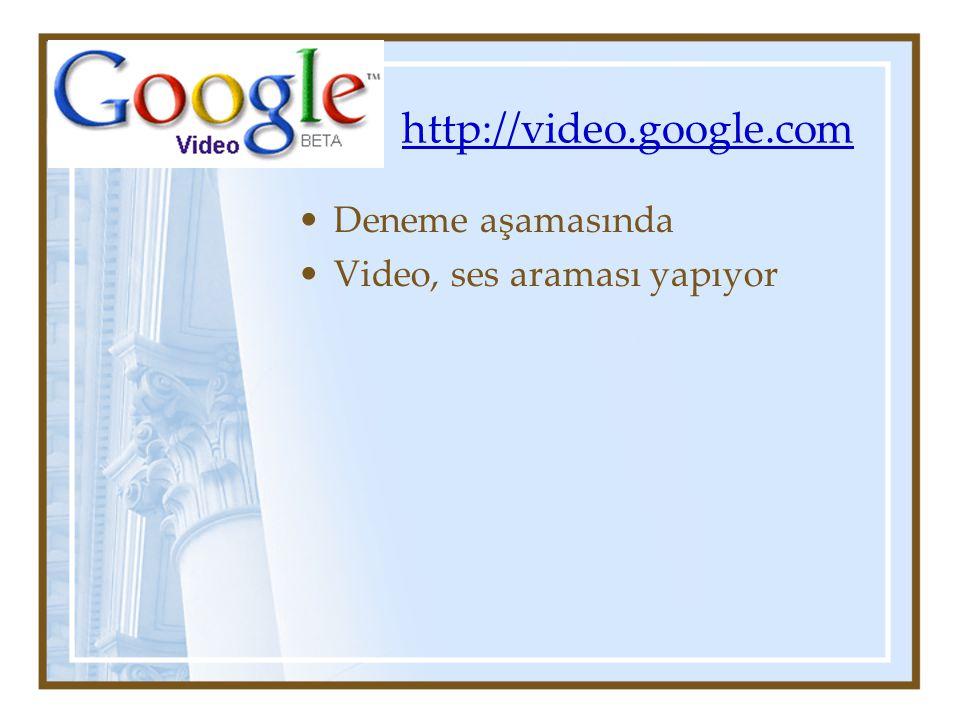 http://video.google.com Deneme aşamasında Video, ses araması yapıyor