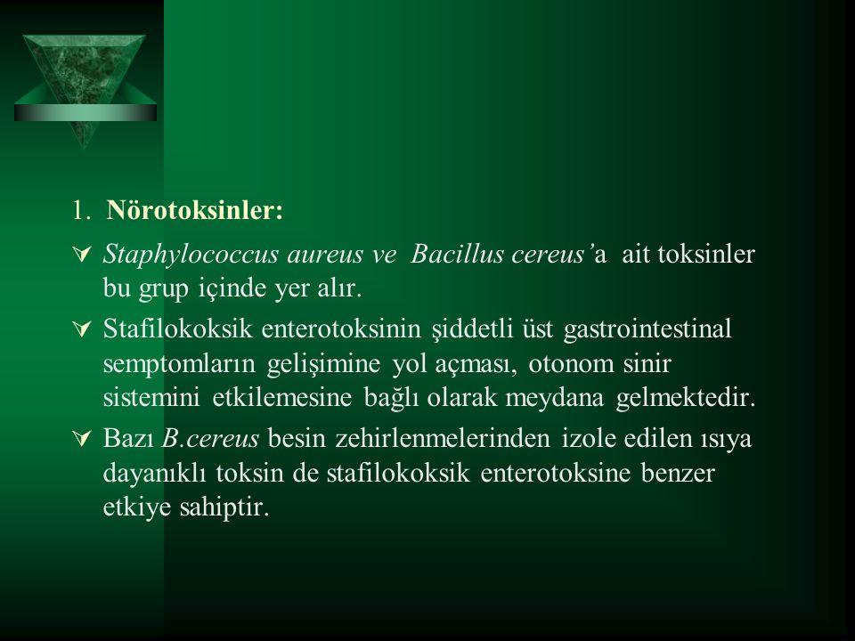 1. Nörotoksinler:  Staphylococcus aureus ve Bacillus cereus'a ait toksinler bu grup içinde yer alır.  Stafilokoksik enterotoksinin şiddetli üst gast