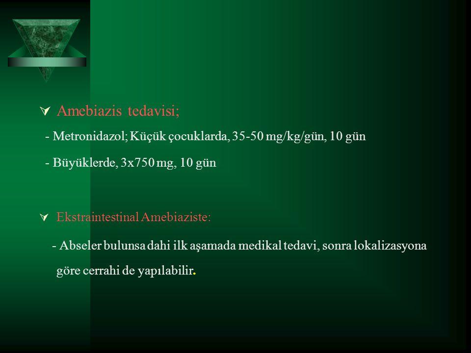  Amebiazis tedavisi; - Metronidazol; Küçük çocuklarda, 35-50 mg/kg/gün, 10 gün - Büyüklerde, 3x750 mg, 10 gün  Ekstraintestinal Amebiaziste: - Absel