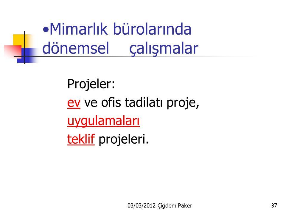 03/03/2012 Çiğdem Paker36 Leo-Design dönemsel çalışmalar Egebank Şb.röleve projeleri