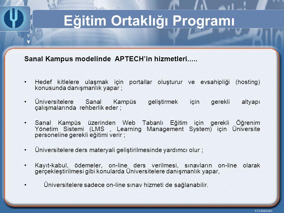 Eğitim Ortaklığı Programı Sanal Kampus modelinde APTECH'in hizmetleri..... Hedef kitlelere ulaşmak için portallar oluşturur ve evsahipliği (hosting) k