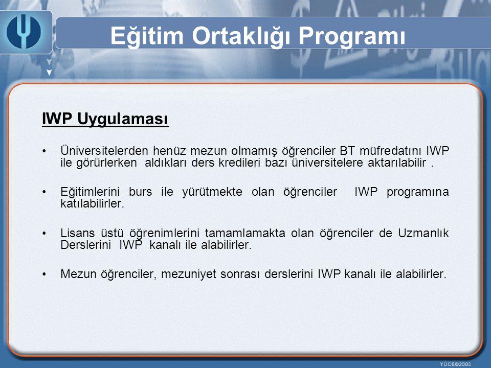 Eğitim Ortaklığı Programı IWP Uygulaması Üniversitelerden henüz mezun olmamış öğrenciler BT müfredatını IWP ile görürlerken aldıkları ders kredileri b