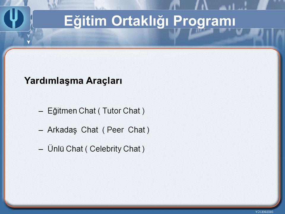 Eğitim Ortaklığı Programı Yardımlaşma Araçları –Eğitmen Chat ( Tutor Chat ) –Arkadaş Chat ( Peer Chat ) –Ünlü Chat ( Celebrity Chat )