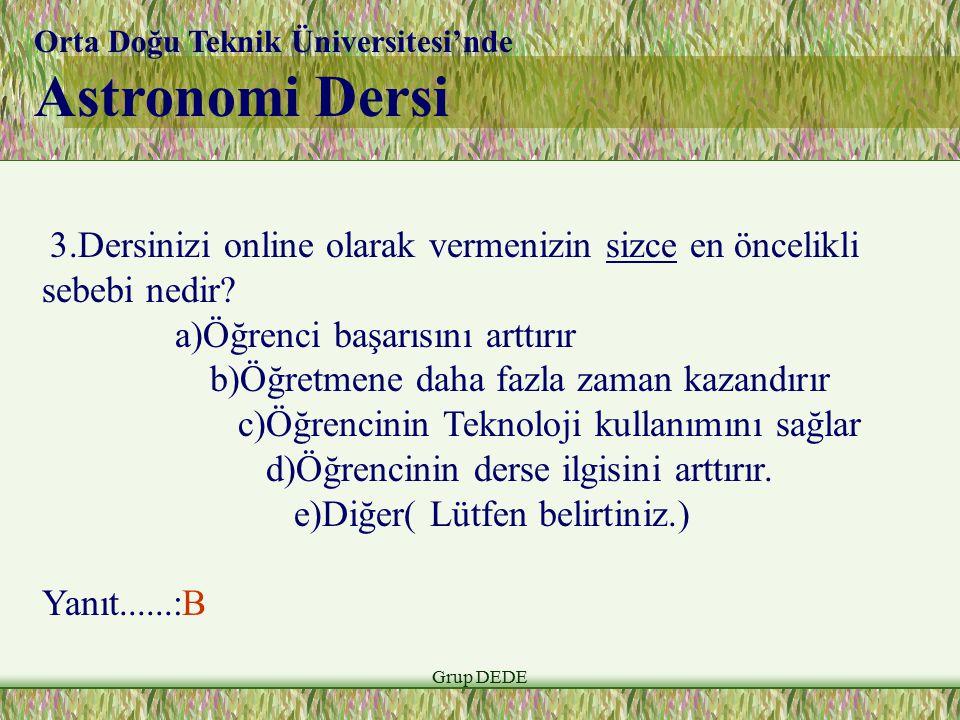 Grup DEDE Orta Doğu Teknik Üniversitesi'nde Astronomi Dersi 3.Dersinizi online olarak vermenizin sizce en öncelikli sebebi nedir? a)Öğrenci başarısını